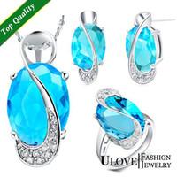 Cheap Wholesale - Sterling 925 Silver Jewelry Set Wedding Love Oval Blue Red Purple Sapphire Stone CZ Zircon Ring Pendant Earrings Finely Cut