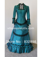 Wholesale Brand New Blue Taffeta Victorian Bustle Ball Gown Dress