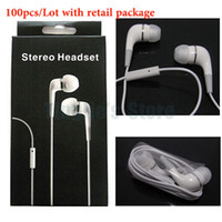 Wholesale 100pcs In Ear Earbud Earphones Headphones wth Mic For Iphone4 s G S iPad2 iPods Mp3 Stereo mm InEar Headsets with Retail Package