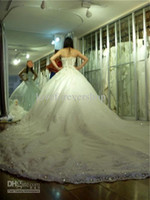 Wholesale 2014 Hot Selling Bridal Ball Gowns Strapless Beaded Crystals Appliques Lace Tulle Luxury Cathedral Train Spring Sexy A Line Wedding Dresses