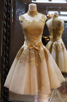 Cheap High Quality Champagne Cute Cocktail Dresses Ball Gown Short Mini High Neck Sheer Illusion Back Lace Appliques Bow 2014 Fascinating Dresses