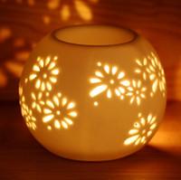 white flower oil - Dia cm Elegant Flower Carving White Ceramic Home Fragrance Burner Essential Oil Containers Premiums Gift DC811