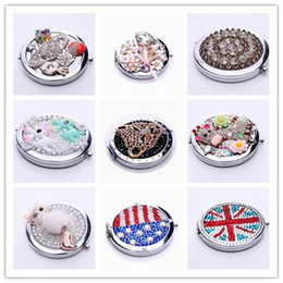 Wholesale portable stainless steel frame pocket compact mirror make up cosmetic crystals normal magnifying double dual sides D