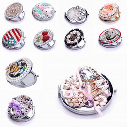 Wholesale Women Pocket Compact Mirrors Portable Cosmetic Makeup Mirror Normal Magnifying Dual sides D