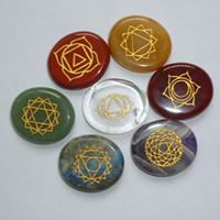 Wholesale Engraved Chakra Stone Palm Stone Crystal Reiki Healing With Pouch EN0001SY