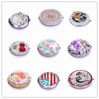 Round compact mirror - stainless steel compact Mirrors make up mirrors pocket compact mirror crystals normal magnifying double dual sides D