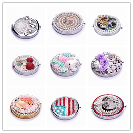 Wholesale Fashion Stainless Steel Compact Mirrors Make Up Mirrors Pocket Compact Mirror Crystals Normal Magnifying Double Dual Sides D