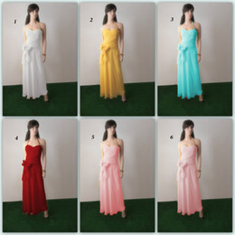 Ladies Fashion Yellow Halter A-line Chiffon Tea-length Bridesmaid Dresses with Sash Mix Order 6 Kinds Long Dress Sweetheart DL132000699