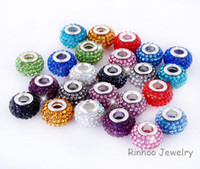 Wholesale Mixed Multicolor New Resin Rhinestone Charm Beads Silver Plated Core Crystal Loose Beads Fit DIY jewelry Pandora Braceles