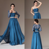 Wholesale Best Selling A Line Strapless Floor Length Chiffon Mother Of The Bridal Long Sleeve Jacket Dresses Beaded Newest Evening Dresses