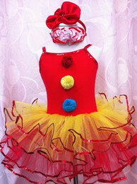 Wholesale childrens girl sequins fur balls clown stage performance ballet leotard tutu dress with hairband halloween costume