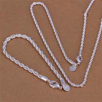 Wholesale sterling silver Men s mm necklace mm bracelets Set S051