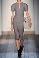 Wholesale 2014 New Sexy Women Fashion Dresses Short Sleeve OL Work Dresses Split V Neck Street Style Grey Autumn Pencil Dresses