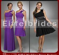 al por mayor modesta de la gasa de las flores púrpuras-2016 modest vestidos de dama de honor negro y púrpura con una belleza atractiva flor de un hombro y embellecido pick-ups una línea de gasa vestidos de noche
