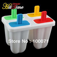Cheap DIY Ice Cream Frozen 4Pcs Popsicle Maker Mold Icepop Block Icy Pole Lolly Set #22096