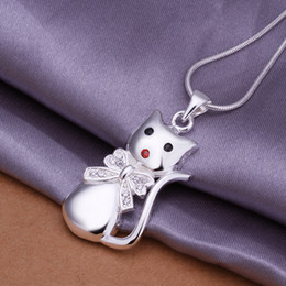 Crystal bow cat pendant with 2mm Snake Chain necklaces 925 sterling silver Hello cute Kitty charm necklace jewelry for women free shipping