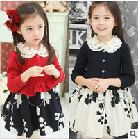 TuTu Spring / Autumn Pleated New Arrival Kids Dress 2014 Hot Sale Spring Top-Grade Dress Girl Individuality Lace Collar Embroider Fashion Princess Dress