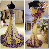 Wholesale 2014 Spring Bling Bling Beaded Sequins One Shoulder Pageant Dresses With Hand Made Flowers Sweep Train Tulle Sheath Evening Gowns DX314