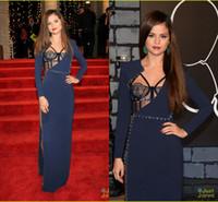 selena gomez dress - Selena Gomez Celebrity Dresses Red Carpet Dark Navy Long Sleeves Sexy Side Slit Beading Long Evening Dresses AS015
