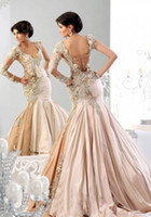 Wholesale Unique Design New Arrival Applique Beads Long Sleeve Prom Dresses Sexy V Neck Ruffle Satin Mermaid Lace Up Evening Party Dress DX316