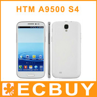 Wholesale HTM A9500 i9500 S4 Android Smartphone phone inch Quad Band Core Dual Sim Quad Band WIFI Bluetooth CellPhone HD Screen With Flip case