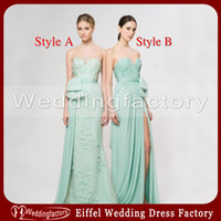 Ruffle Sleeveless  Hot Sale Mint Green Chiffon Bridesmaid Dresses A Line Sweetheart Sleeveless Ruched Ruffle Lace with or without Slit Floor Length Prom Gowns