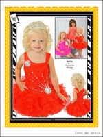 Cheap 2014 New Arrival Little Girls Orange And Pink Ball Gown Short Pageant Dresses Ruffled Roses Square Crystals Sequins Beads Girl Formal Gowns