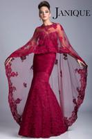 Cheap 2014 Fushisa Mermaid Mother of the Bride Dresses With Wrap Sweetheart Kaftan Dubai Abaya Dresses Lace Crystal Beaded Muslim Janique JQ3309