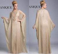 Cheap 2014 Dubai Abaya Arabic Mother Of The Bride Dresses Jewel Beads Batwing Long Sleeves Floor Length Evening Gowns Chiffon Janique JQ3402