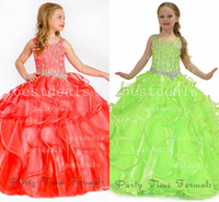coral and green organza ruffles ball gown flower girl dresse...