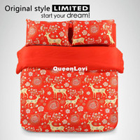 Cheap unique designer cartoon bedding sets,lovely deer pattern red duvet cover set,personality fashion comforter sets,twin queen