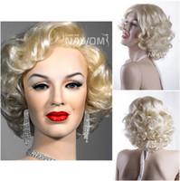 Wholesale Hot sale Discount women nice blonde wig Fashion hair short curly wig Lady Short wig Marilyn Monroe wigs