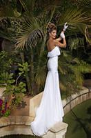 Cheap Cheap Grecian Beach Chiffon Mermaid Strapless Wedding Dresses Ruffles Lace Applique Court Train Backless Bridal Gowns Dimitrius Dalia 2014