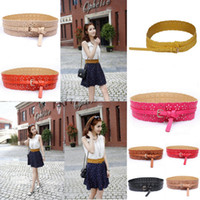 Wholesale Retro Women PU Leather Waist Belt Fashion Lady Hollow Out Waistband With Flower Colors Choose DOF