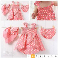 Wholesale KACAKID girl Pink with dot Dress hat ass pants toddler calphen