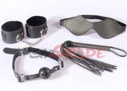 Wholesale Bondage Adult Restraints kit for couple SM Handcuffs Gag Blindfold whip Sexy bedroom restraint sex toy drop shipping