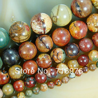 Wholesale 4mm mm mm mm mm Natural Colorful Picasso Round Beads quot Pick Size