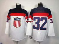Cheap Hockey Jerseys olympics Mens ice hockey Jerseys USA white 32 Sports Jerseys 2014 Outdoor Apparel allow custom design hockey jerseys