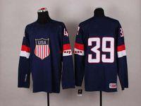 Cheap Winter olympic Hockey jerseys deep blue USA #39 Miller mens Wear High Quality Hockey Jerseys Outdoor Jerseys Soft Sports Wear 2014 New