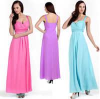 Model Pictures Chiffon Classic NEW Woman Wrapped Ruched Bridesmaid Evening Prom Long Gown Dresses US Size 8 10 12 14 16 18 06005