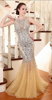 Reference Images Crew Tulle Free Shipping Real Picture Mermaid Evening Dresses with Crystal Beads luxurious Party Dresses Gown High Quality Custom Made High Quality