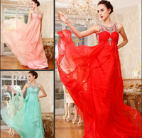 Wholesale Famous Designer Fashion Chiffon Evening Dresses Aline Red Blue Party Dresses Custom Made New Fashion Cheap Real sample