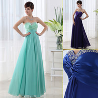 Cheap $59.9 2014 In stock new sweetheart long chiffon mint Prom Dresses lace up blue purple beaded bridesmaid evening party gowns under $100 SD003