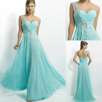 Reference Images One-Shoulder Chiffon Simple 2014 NEW Cheap Beaded One Shoulder Aqua Mint Bling Evening Dress Backless Prom Gowns Dresses Blue Chiffon Sexy Long Ball Custom Made