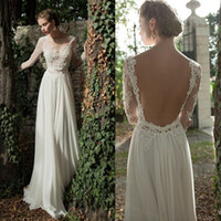 A-Line Reference Images Jewel Elegant Berta Bridal Sexy Backless Illusion Jewel Lace Long Sleeves Chiffon A-Line Wedding Dresses Evening Gowns 2014 New Dress Custom Made