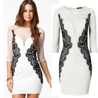 Casual Dresses Round Mini S M L XL XXL Plus Size 2013 New Fashion Women White Elegant Full Lace Bodycon Bandage Dress Autumn Casual Dress