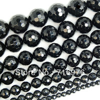 4 6 8 10 12 14mm Faceted Black Agate Round Gemstone Beads 15...