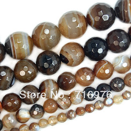 "4.6,8,10,12mm Faceted Coffee Striated Agate Round Beads 15"" Pick Size Free Shipping"