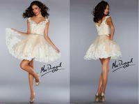 Cheap Cheap 2014 Homecoming Dresses Sexy Cheap Spaghetti V Neck Applique Lace Princess Mini Short A Line Cocktail Prom Dresses 50218