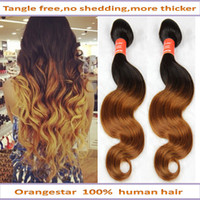 Wholesale Brazilian Ombre Hair extensions human hair Body Wave Two Tone Color b ombre Hair Weave by DHL